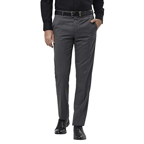 Raymond Solid Synthetic Grey Regular Fit Trouser