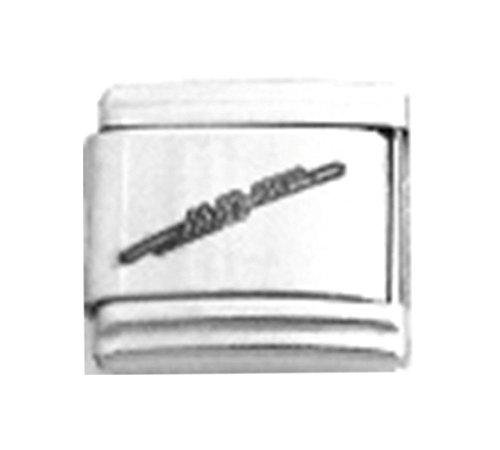 FLUTE MUSIC Laser Engraved Italian Charm 9mm - 1 x LC031 Single Bracelet Link (Flute Charm Italian)