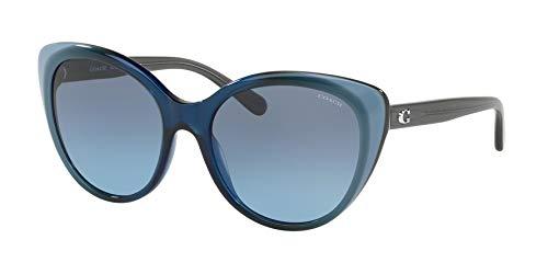 COACH Women's 0HC8260 55mm Blue Laminate/Gray Blue Gradient One Size (Sunglasses Blue Coach)