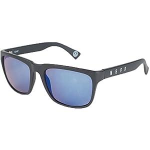 neff Neff Chip Square Shaped Sunglasses UVA UVB Protective Unisex Accessory, -matt black/blue mirror, One Size