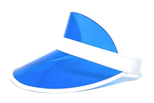 Retro Tennis Colored Vinyl Sun Visor, Set of 1 Plastic Color Visor, Perfect Neon Visor Beach Hat, Dealer Costume Visor, Vegas Visor, Bingo Hat, Retro 80s Visor , and Music Festivals (Blue)