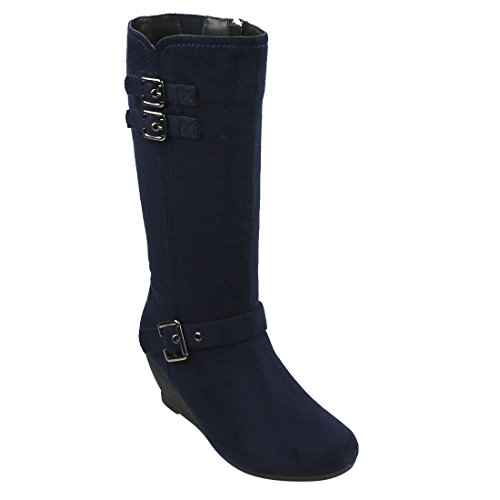Beston EJ71 Women's Fashion Side Zipper Mid-Calf Wedge Boots Half Size Small, Color Navy, Size:11