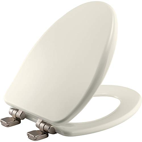 BEMIS 19170NISL 346 Alesio II Toilet Seat with Brushed Nickel Hinges will Slow Close, Never Loosen and Provide the Perfect Fit, ELONGATED, High Density Enameled Wood, Biscuit/Linen
