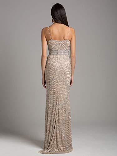 Lara 29904 Argent Perles Partie Longue Robe Nude / Argent