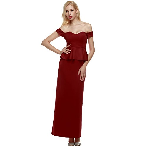 ANGVNS Women Strapless Drop Shoulder Peplum Formal Long Gown Large - Drop Strapless