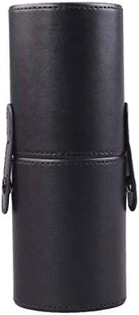 Wadachikis 貴重な空携帯旅行化粧ブラシバケットラウンドペンホルダー化粧品ケースPUレザーカップブラシホルダーストレージコンテナ(None black)