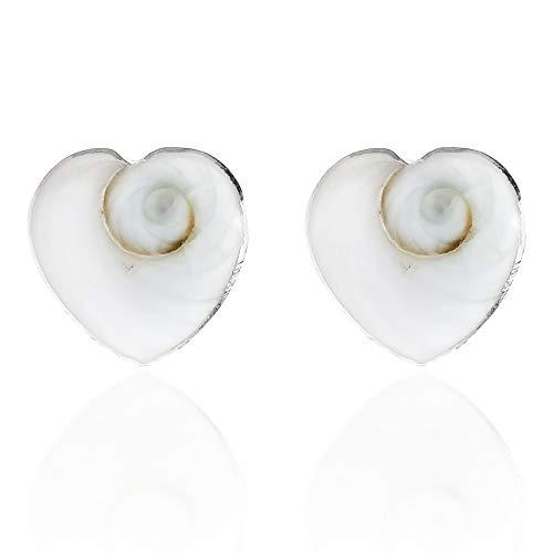 Love Heart Swirl Shiva Shell .925 Sterling Silver Stud Earrings
