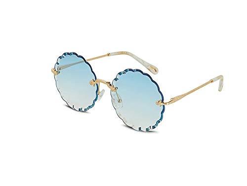 HongTeng Sunglasses Women Fashion Tide Petal Retro Round Frame UV Travel Driving Goggles Multi-Color Optional (Color : Blue)