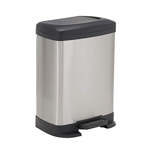 Design Trend Small Rectangular Stainless Steel Step Trash Can with Plastic Soft Close Lid | 8 Liter / 2 Gallon, Silver