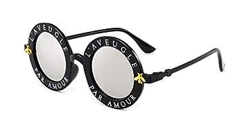 Gflousas - Gafas de Sol Redondas para Mujer, con Letras en ...