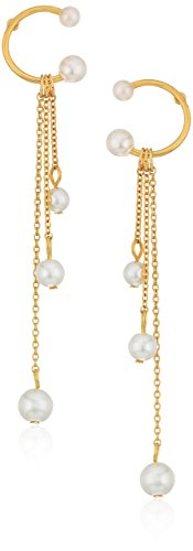Rebecca Minkoff Linear Triple Drop Sphere Pearl Drop Earrings (Designer Pearl)