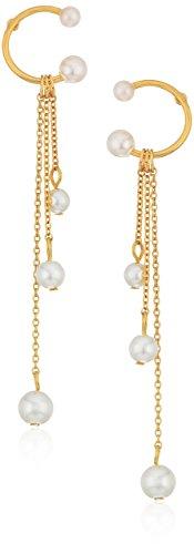 Rebecca Minkoff Linear Triple Drop Sphere Pearl Drop Earrings (Pearl Designer)