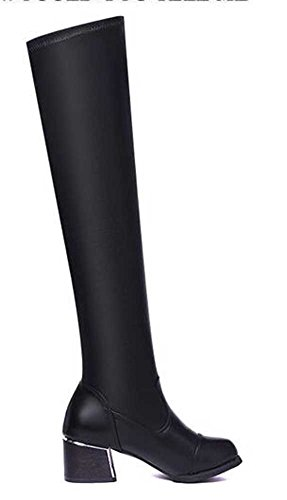 CHFSO Womens Fashion Solid Round Toe Mid Chunky Heel Above The Knee High Pull On Boots Black 7jRZSi5