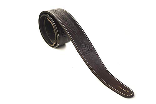 UK Made Celtic Design Real Leather Guitar Strap - Brown