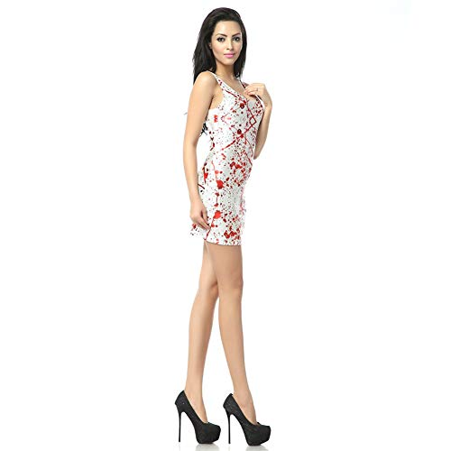 HJYJZ Robe Imprime Halloween Sanglante 3D Impression Numrique Unitard Halloween Robe Courte Femme (Taille Unique) T101