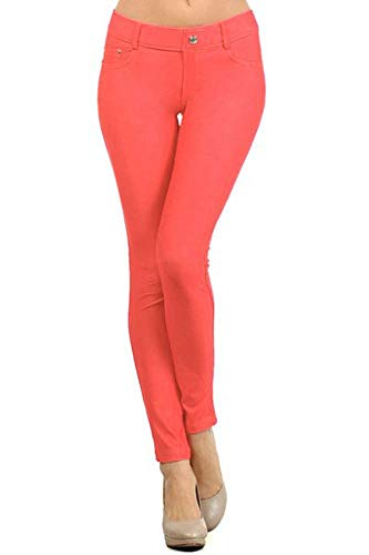 Yelete Womens Basic Five Pocket Stretch Jegging Tights Pants, Coral, Medium