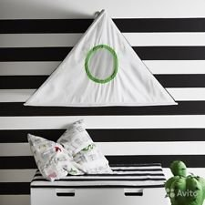 -IKEA HEMMAHOS Bed Canopy with a roof and windows, black and white, 24,x39x19