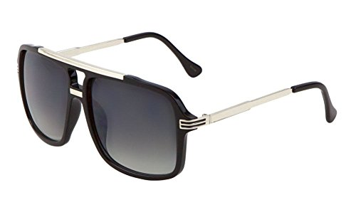 Evidence Metal & Plastic Hip Hop Flat Top Aviator Sunglasses (Black & Silver Frame, - Shades Gazelle
