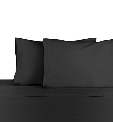 Martex Cotton Rich Bed Sheet Set - Brushed Cotton Blend, Super Soft Finish, Wrinkle Resistant, Quick Drying,  Bedroom, Guest Room  - 4-Piece Queen  Set, Ebony -