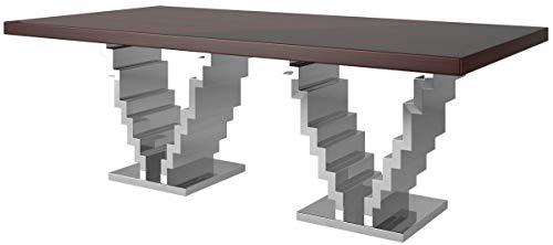 Casa Padrino Mesa de Comedor Art Deco marron Oscuro/Plata 215 x 115 x A. 75 cm - Mesa de Comedor Noble - Mesa de Cocina - Muebles de Comedor Art