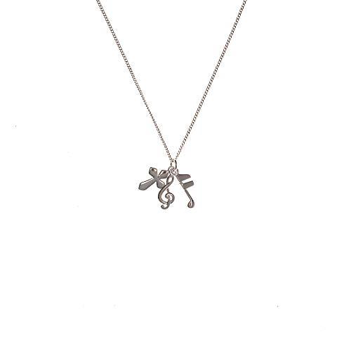 Cross Musician's Prayer, 8th Note, Treble Clef Three Silver Plated Pendant Necklace - 18 inch Chain