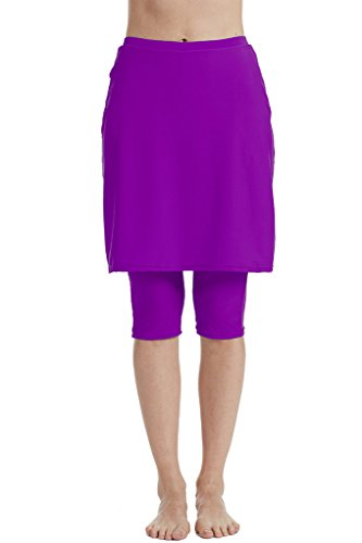 (Micosuza Womens Skirted Swim Capris Sun Protective UPF 50+ Swimming Tight with Attached Skirt Sport Leggings)