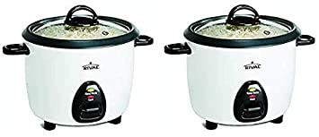 Rival 10-Cup Rice Cooker with Steamer Basket, White Black RC101 Tw k