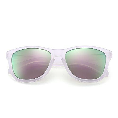 Hommes Transparent Partie Rétro Miroir Femmes Paires pour Solaire à Lunettes Soleil 12 Miroir Violet Lunette de Style x4vY46