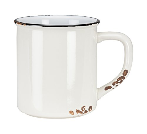 Abbott Collection Enamel Look Stoneware Mug, Ivory