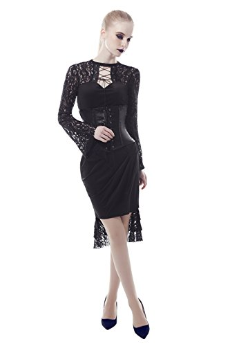 Lemail Womens Steampunk Gothic Victorian Lace Dress Lace Up Corset Dress Petite (Lace Lace Up Wig)