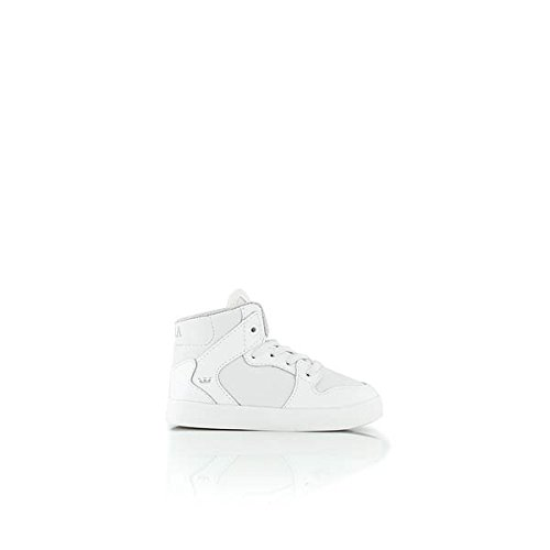 Supra Kids Unisex Vaider  White Leather Sneaker 10 Toddler M