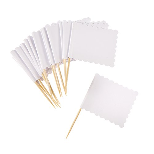 White Scalloped (Darice White Scalloped Flag on Wood Pick, 14 Piece)