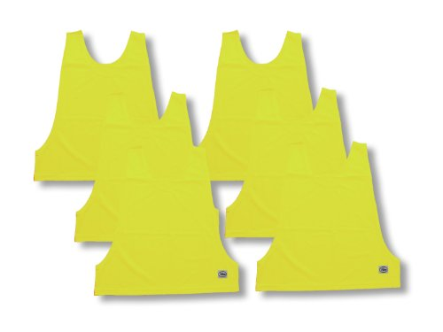 6-Pack of Practice Pinnies (Scrimmage Vests) for Soccer and Other Sports - Adult Size - Color Neon Yellow