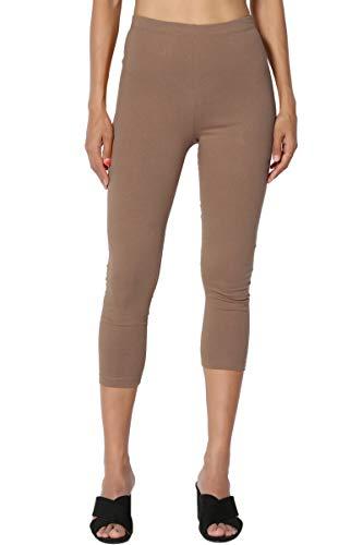 (TheMogan Women's Cotton Jersey High Waist Mid Calf Capri Leggings Mocha)