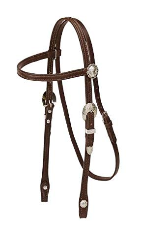 - TORY LEATHER Pony Browband Headstall - Silver Buckles & Conchos