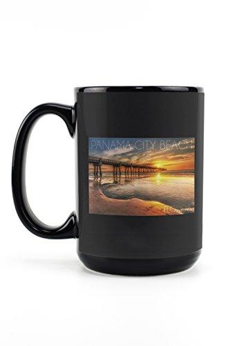 Panama City Beach, Florida - Pier and Sunset (15oz Black Ceramic Mug - Dishwasher and Microwave - Pier Park City Beach Panama Florida