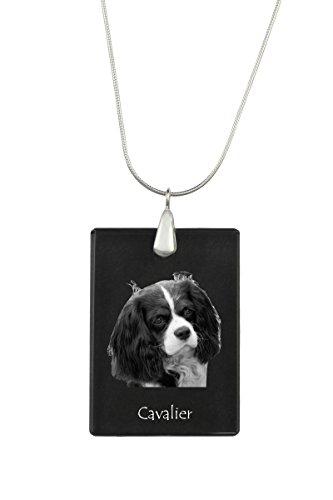 - Cavalier, Dog Crystal Pendant, Silver Necklace 925,