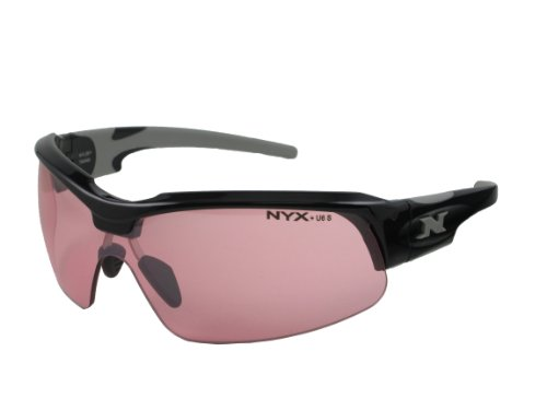 NYX Sport Vision PRO Z-17 Series Sunglass with Z87.1 Safety Rating, Black-Gray Frame/Light Vermillion Safety Lens, - Sunglasses Rating