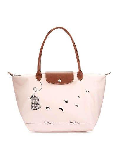 Longchamp Large Shoulder Tote - Le Pliage Cage Aux Oiseaux - Pale Pink