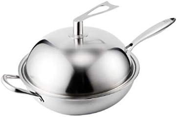Yougou01 鍋、304ステンレス鋼の上塗を施してない炒め物フライパン、台所の伝統的な12.8インチの平底の中華なべ、電磁調理器およびガスこんろは使用することができます、シルバーホワイト,絶妙なデザイン (Size : 34 stainless steel cover)