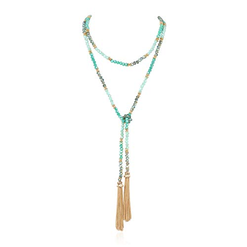 RIAH FASHION Bohemian Pendant Beaded Long Statement Necklace - Sparkly Crystal Bead Boho Teardrop, Natural Stone, Tassel Charm Wrap Lariat (Chain Tassel Wrap - Turquoise)