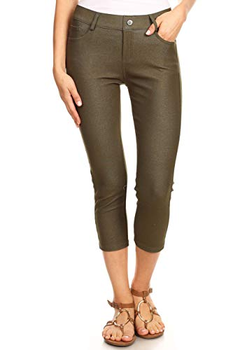 ICONOFLASH Women's Army Green 5 Pocket Capri Jeggings - Pull On Skinny Stretch Colored Jean Leggings Size Medium