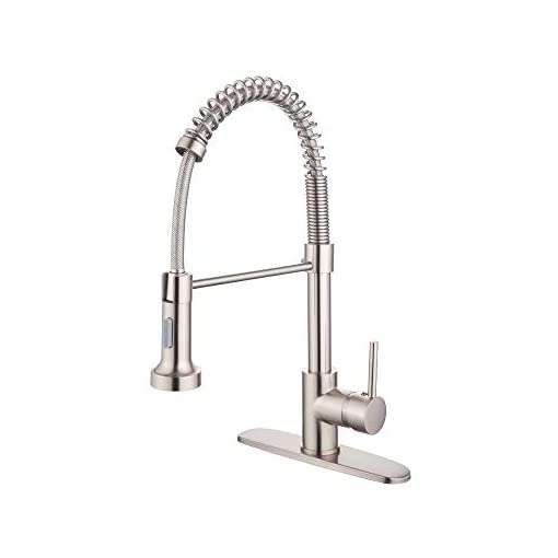 Farmhouse Kitchen Kitchen Faucets, Commercial Pull Out Single Handle Kitchen Faucet with Sprayer, Brass Spring Kitchen Sink Faucet with… farmhouse sink faucets