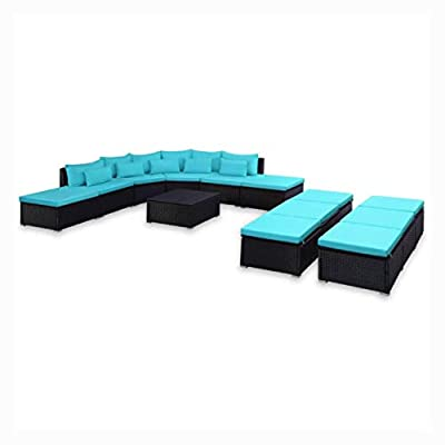 K&A Company Outdoor Furniture Set, 9 Piece Garden Lounge Set with Cushions Poly Rattan Blue