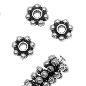 Beautiful Bead 5mm Antiqued Silver Plated Pewter Daisy Spacer Beads for Bracelets DIY Jewelry Making (About 50pcs ) ()
