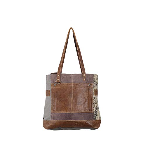 Myra Bags Side Floral Print Upcycled Canvas Tote Bag S-0915