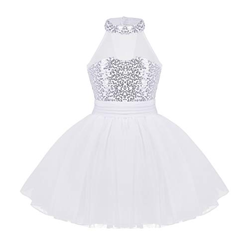 (iiniim Girls Sequined Camisole Ballet Leotard Dance Tutu Dress Shiny Sparkle Fairy Party Fancy Costume Mock Neck White)