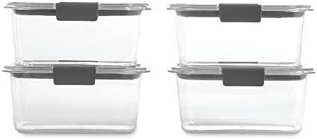 Rubbermaid Brilliance Food Storage Container, BPA-free Plastic, Medium Deep, 4.7 Cup, 4-Pack, Clear