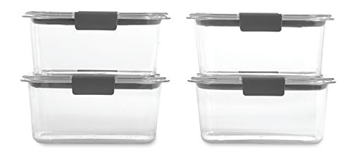 Rubbermaid Brilliance Food Storage Container, BPA-Free Plastic, Medium Deep, 4.7 Cup, 4-Pack, Clear (Food Storage Lids And Microwave)