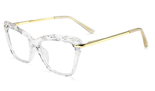 FEISEDY Cat Eye Glasses Frame Crystal Non Prescription Eyewear Women B2440